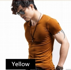 Cotton spandex men's plain gym muscle t shirt with custoom printing