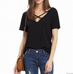 OEM Fashion Ladies Girls Woman Viscose Vasity Nyc T Shirt