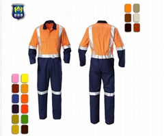 Orange Workers Overall Uniform with Reflective Tape for Mining Men's Coveralls