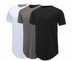 Men Casual T-Shirt Curve Hem Side With Zipper Short Sleeve Men Long line Tee
