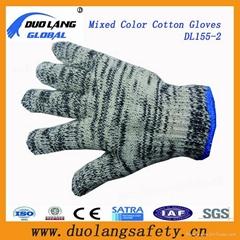 Industrial Safety Brown Knitted Cuff Cotton Hand Work Gloves (41009)