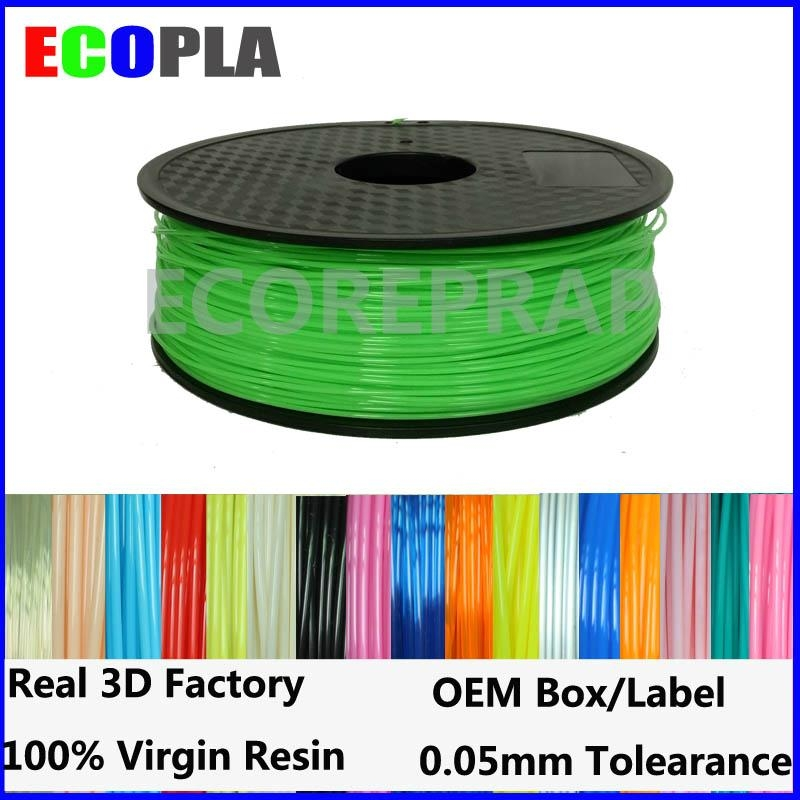 Top quality 1.75mm 1kg 2.2lbs pla low price green pla filament 1