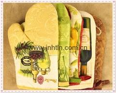 Custom Design printed cotton oven mitt