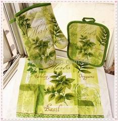 Printed cotton kitchen glove set