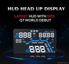 "5.5"" Vehicle GPS OBD2 Head Up Display Car Speed Limiter HUD Q7"