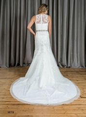 Mermaid & Trumpet High Neck Beading Lace Wedding Dress W19