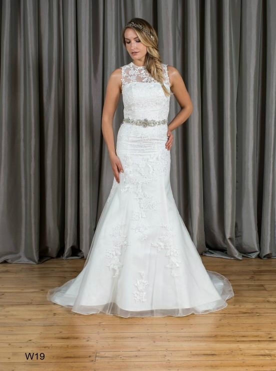 Mermaid & Trumpet High Neck Beading Lace Wedding Dress W19 2
