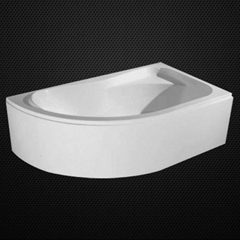 Triangle acrylic bathtub with panel and support