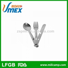 Stainless steel cutlery three-piece set outdoor camping knife fork and spoon