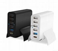 鴻達順高通快充3.0,Type-C6口USB智能桌面手機平板充電器60W