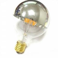 half-chrome silver mirror globe G80 led filament bulb
