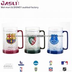 新啤酒伴侣保冷杯冰沙杯 夏日冰镇饮料冰杯 双层塑料礼品保凉水杯