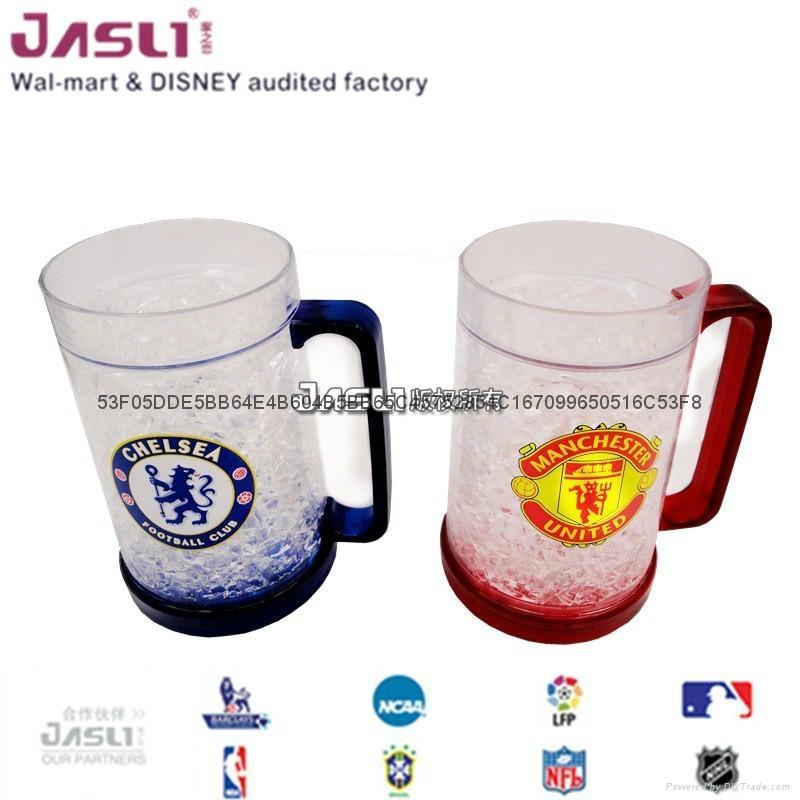 新啤酒伴侣保冷杯冰沙杯 夏日冰镇饮料冰杯 双层塑料礼品保凉水杯 4