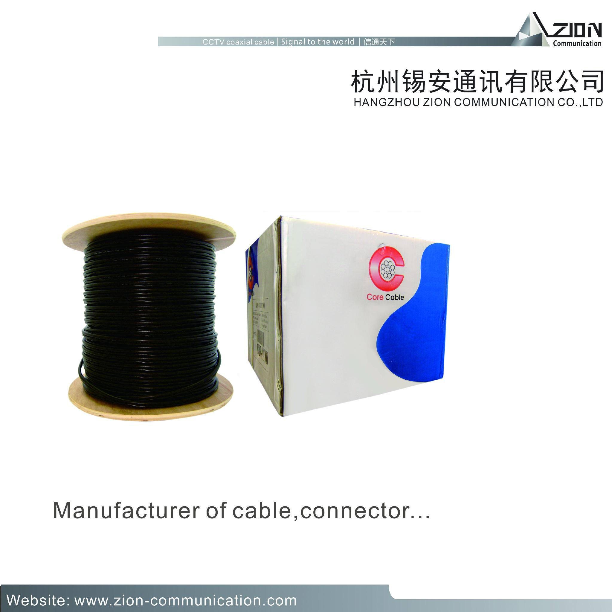 zion communication 0.81CU conductor rg59 camera cable coaxial cable manufacturer 4
