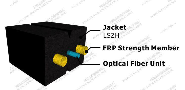 ZION GJXFH-1 FTTH Fiber Optic Drop Cable Bow Type 1 core G657A1 SM LSZH 5