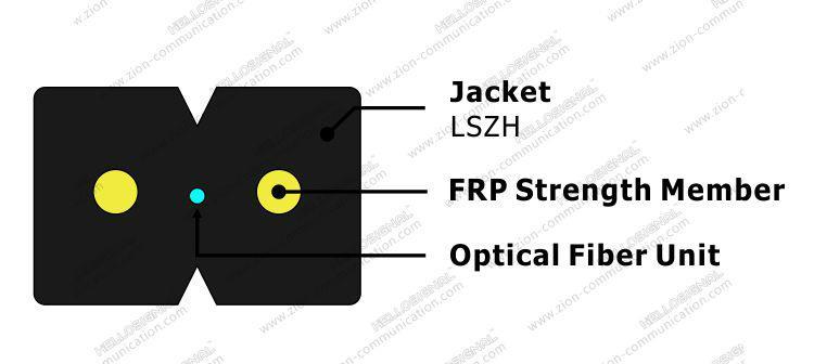 ZION GJXFH-1 FTTH Fiber Optic Drop Cable Bow Type 1 core G657A1 SM LSZH 4