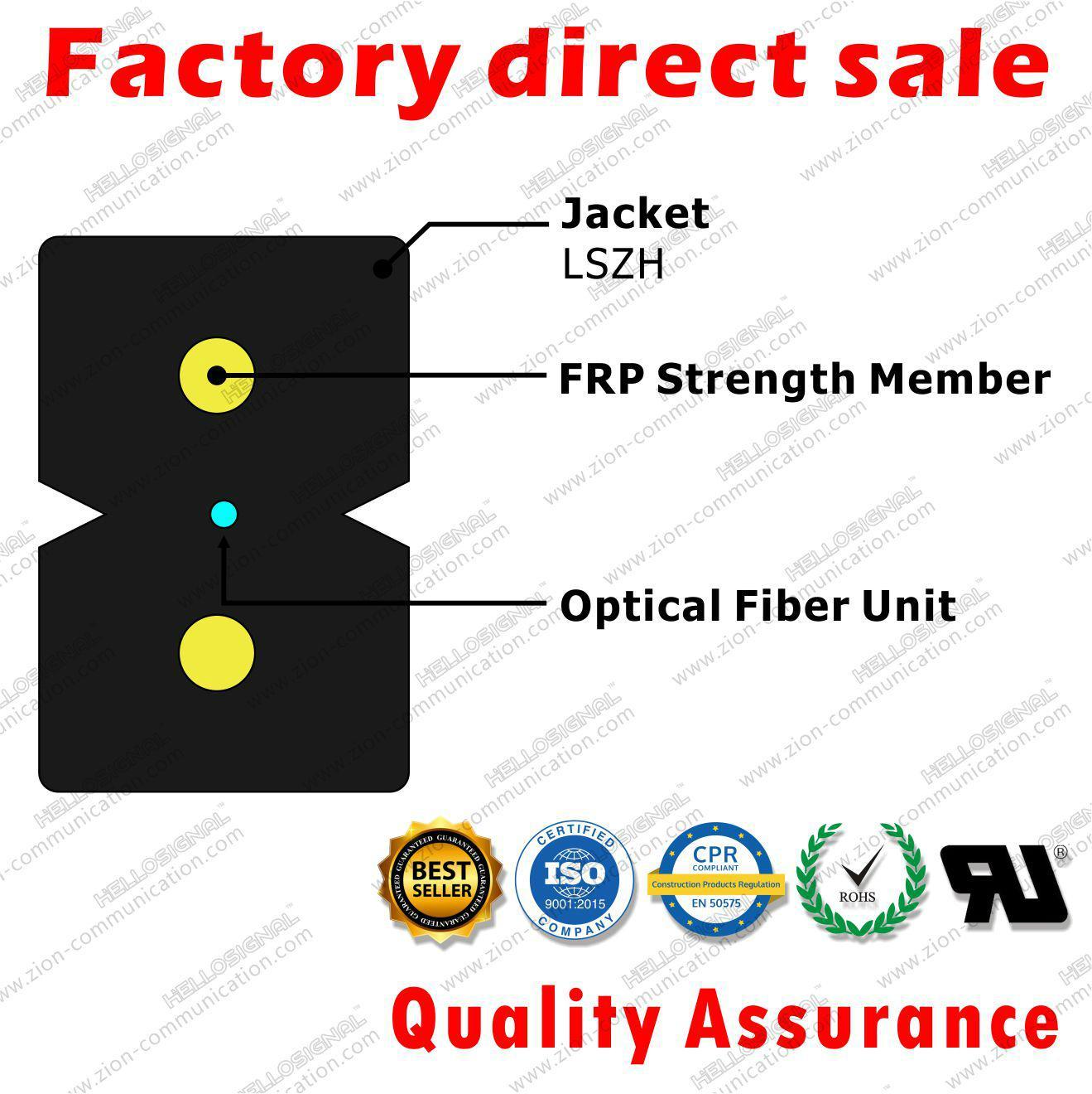 ZION GJXFH-1 FTTH Fiber Optic Drop Cable Bow Type 1 core G657A1 SM LSZH 2