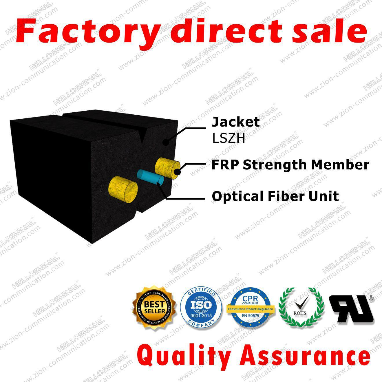 ZION GJXFH-1 FTTH Fiber Optic Drop Cable Bow Type 1 core G657A1 SM LSZH 3