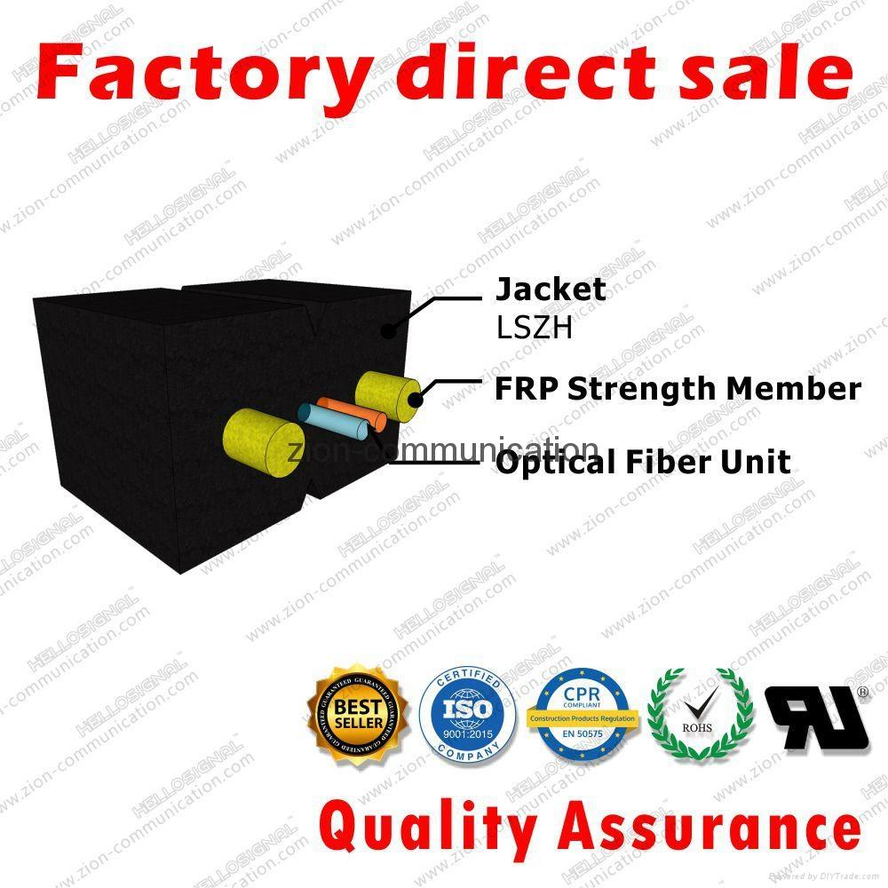ZION GJXFH-2 Bow Type Drop Cable 2 cores FRP G657A1 fibre optical cable 3