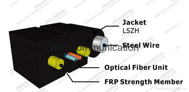 ZION Self-Supporting drop cable GJYXFCH-2 cores FRP ftth optical fiber cable 2