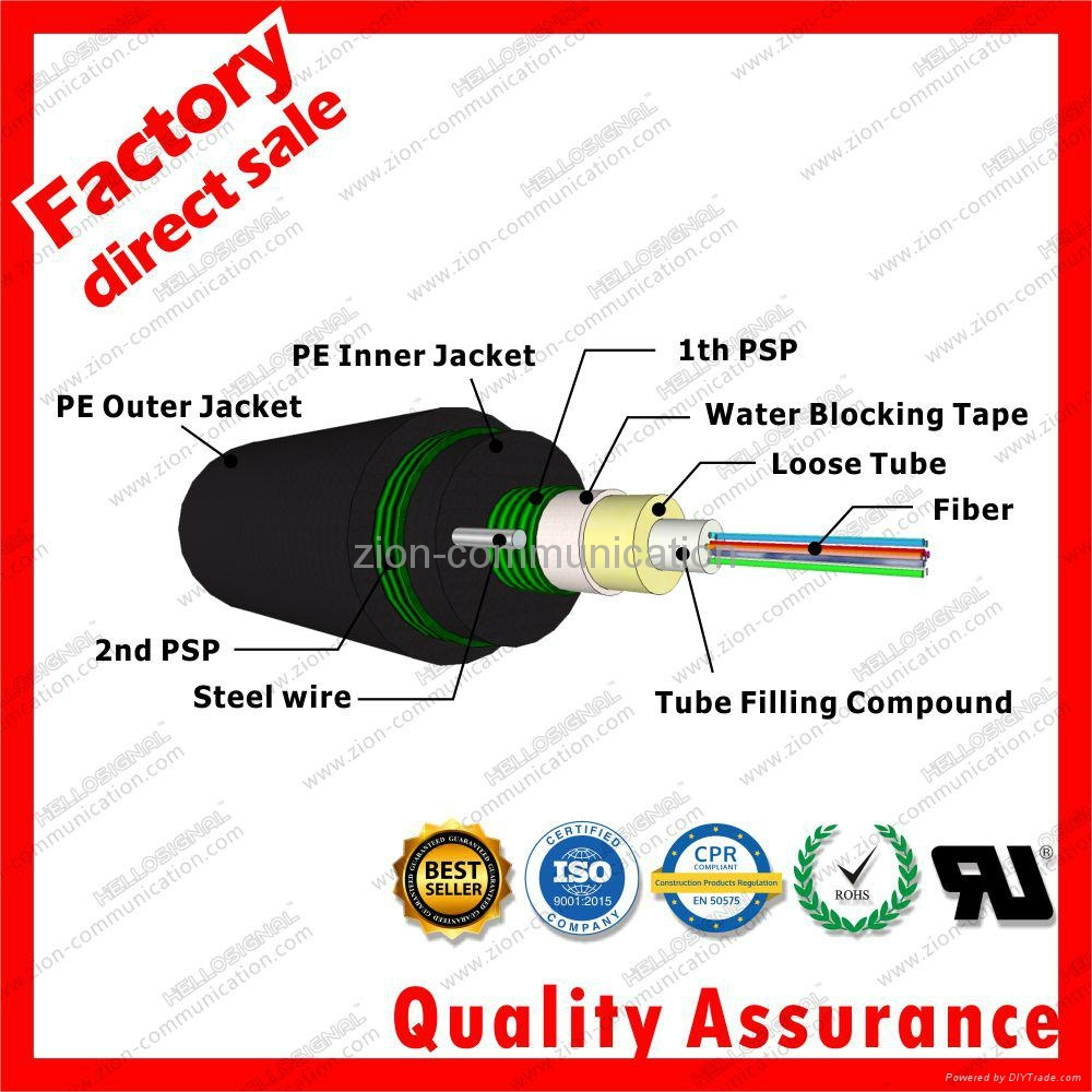 Loose Tube Dual Jacket Armored optic fiber cable GYXTW53 3