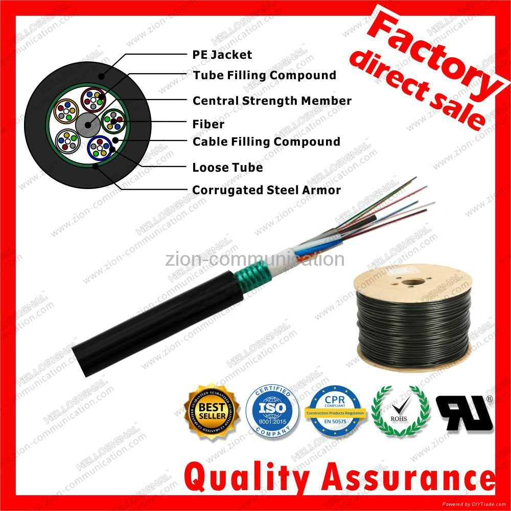 GYTS corrugated Steel armor jacket g652d stranded optic fiber cable 1