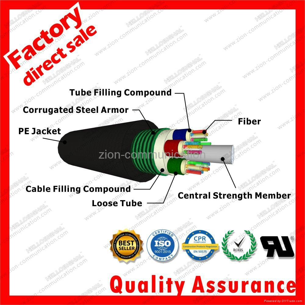 GYTS corrugated Steel armor jacket g652d stranded optic fiber cable 3