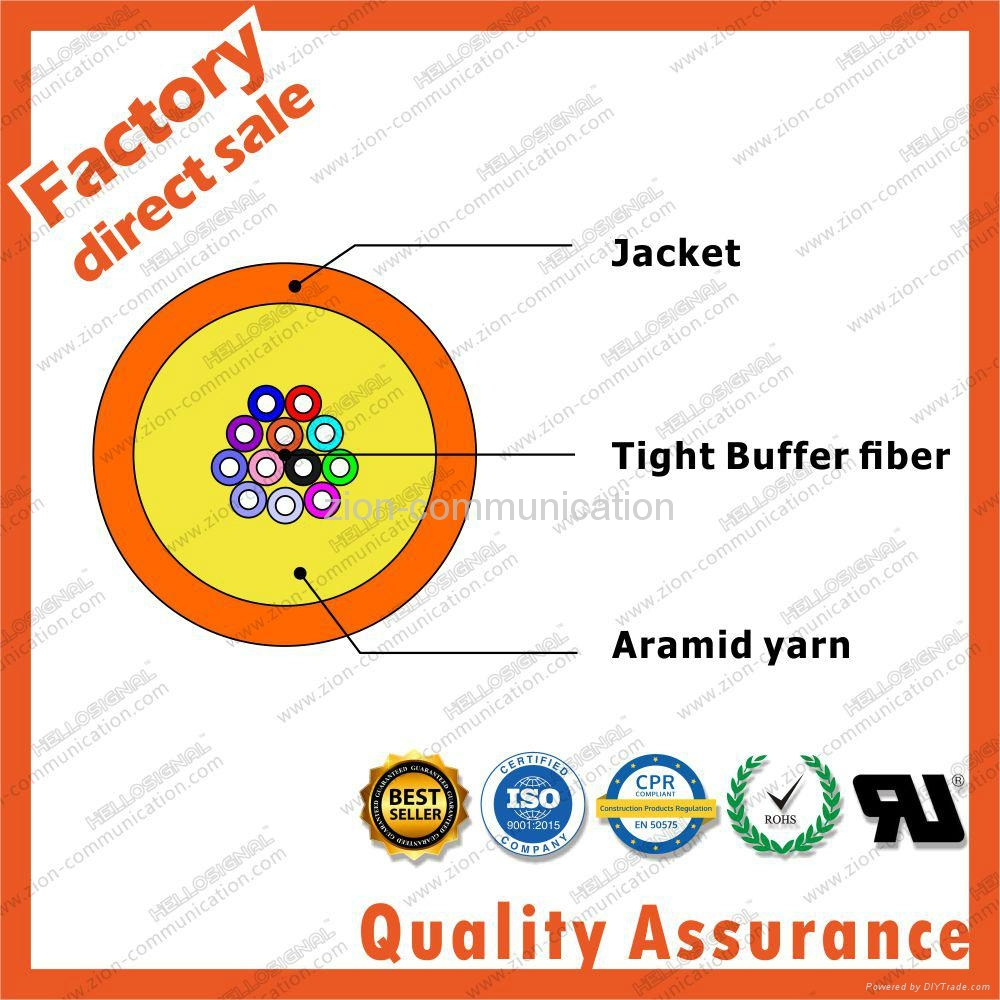 GJFJV Distribution 24F core 9/125 Multi fiber optic cable tight buffer aramid ya 2