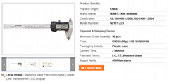 Stainless Steel Precision Digital Caliper Left - handed With LCD Display