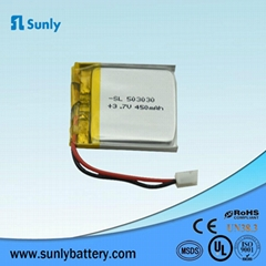 Lipo battery 3.7V 450mAh rechargeable lithium battery for Bluetooth headset