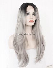 Heat resistant fiber black mix ash grey straight Synthetic lace front wig