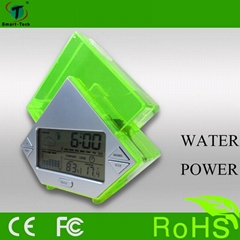 water power weather station alarm clock with thermometer