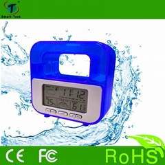 Energy saving and eco-friendly water power weather station clock