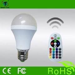 Excellent IR remote control E27 color change rgbw led light bulb with energy sav