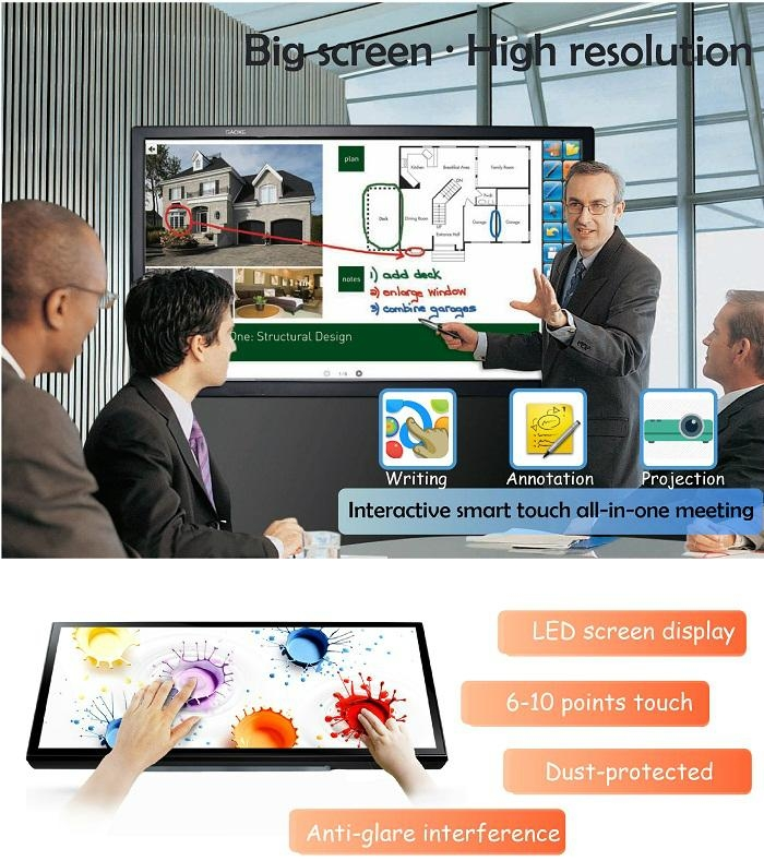 "70"" LCD finger touch interactive smart board touch screen tv 5"