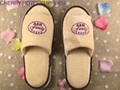 Velour custom indoor guest hotel slippers embroidary logo 5