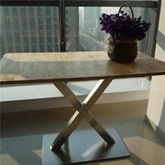 Burlywood Wooden Rectangular Restaurant Table