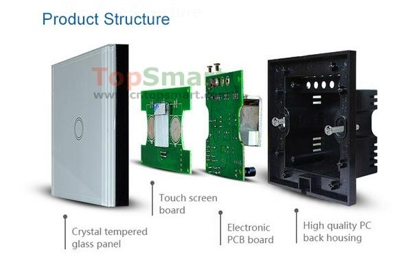 UK Type Mobile APP Remote Control Glass Touch Panel Light Switches 5