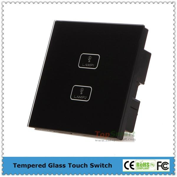 UK Standard  2 gang 1 way or 2 way Remote Control Light Touch Panel Switches 1