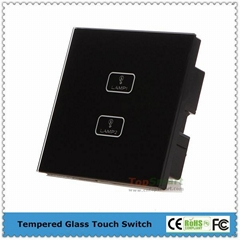 UK Standard  2 gang 1 way or 2 way Remote Control Light Touch Panel Switches