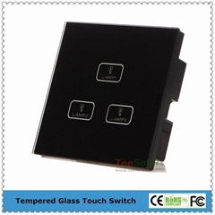 UK Standard  3 gang 1 way or 2 way Remote Control Light Touch Panel Switches