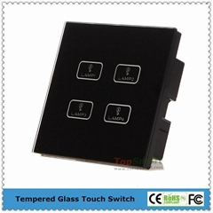 UK Standard  4 gang 1 way or 2 way Remote Control Light Touch Panel Switches