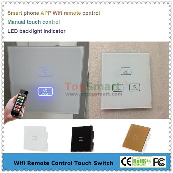 UK Standard Wifi Mobile APP Remote Control Light Dimmer Touch Panel Switches 1