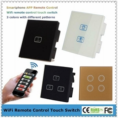 UK Type Mobile APP Remote Control Glass Touch Panel Light Switches