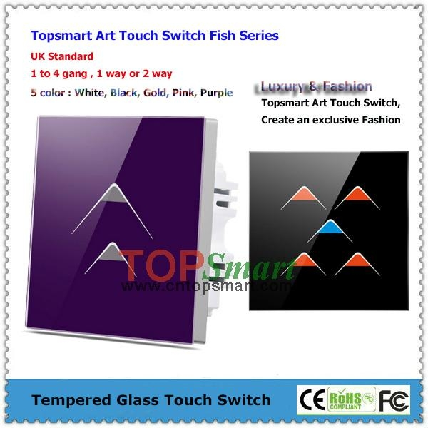 UK Standard  Art Series Toughened Glass Panel Touch Light Switches 2