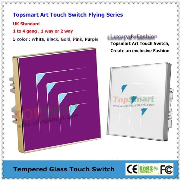 UK Standard  Art Series Toughened Glass Panel Touch Light Switches 3