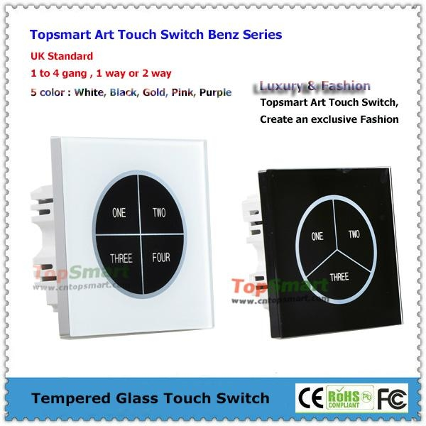 UK Standard  Art Series Toughened Glass Panel Touch Light Switches 1
