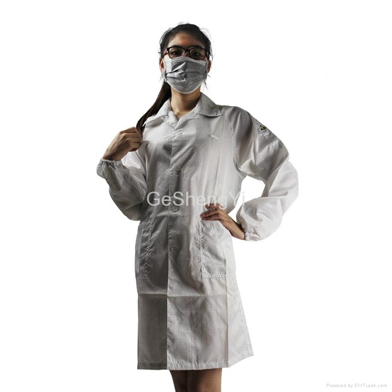 Conductive Grid Fiber Clean Fabric Anti Static Coat White Size L 1