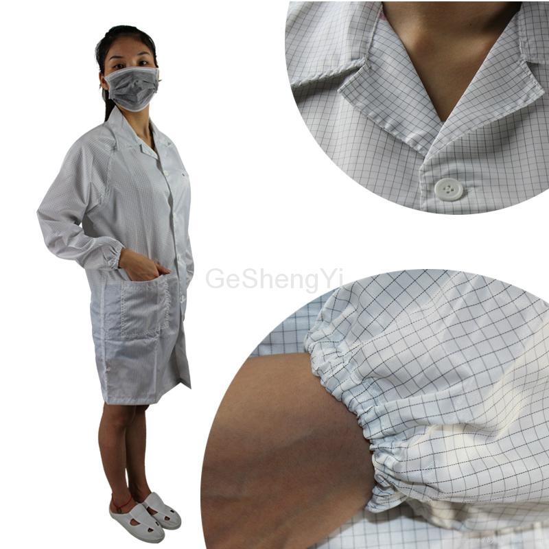 Conductive Grid Fiber Clean Fabric Anti Static Coat White Size L 4