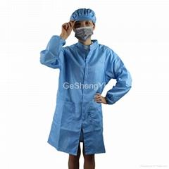 Dust Free Clean Fabric Zipper Class 100 Cleanroom Anti Static Coat  Blue Size L